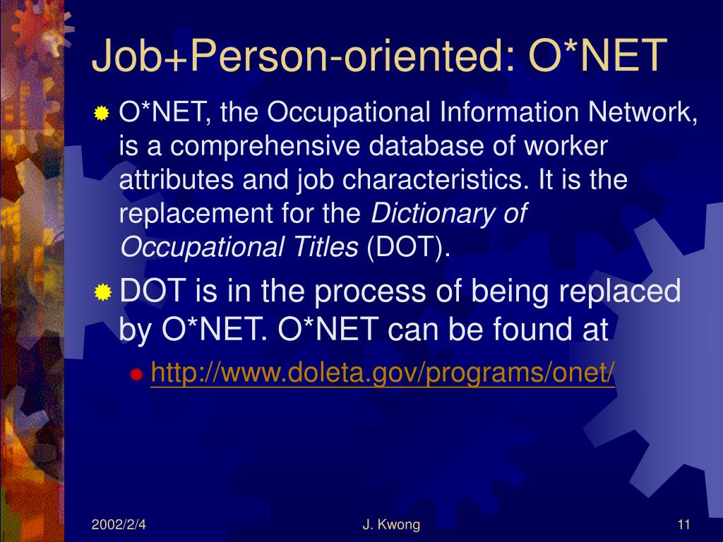 Job+Person-oriented: O*NET