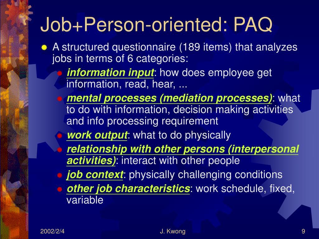 Job+Person-oriented: PAQ