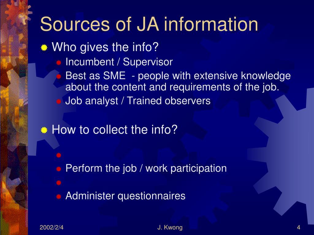 Sources of JA information
