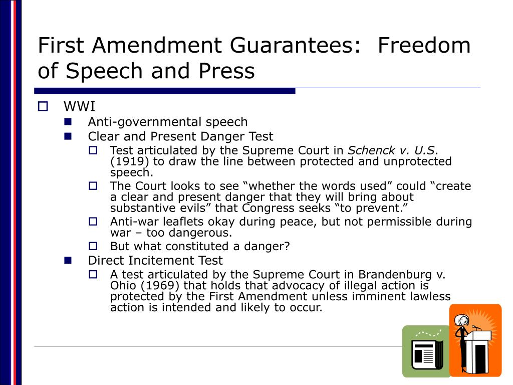 First Amendment Guarantees:  Freedom of Speech and Press