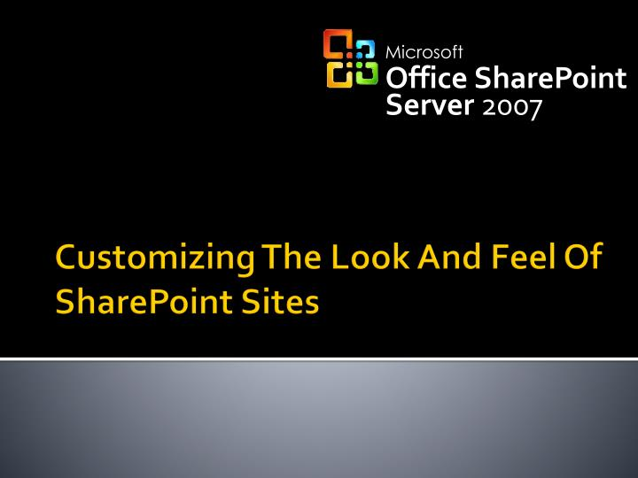 Customizing the look and feel of sharepoint sites