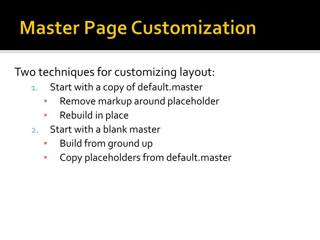 Master Page Customization