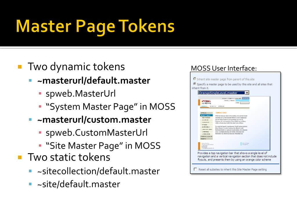 Master Page Tokens
