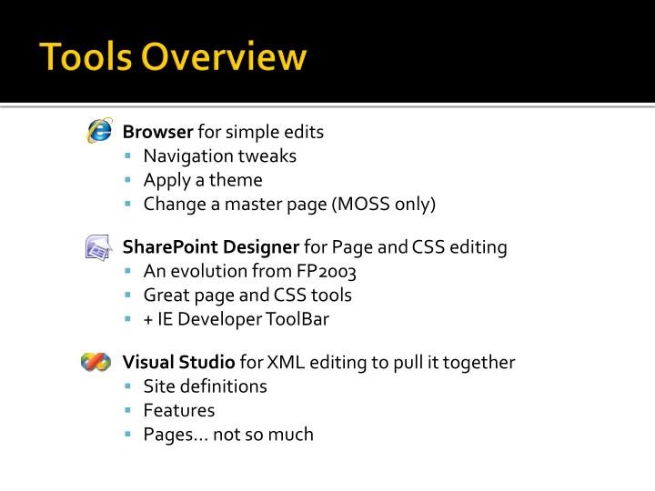 Tools overview