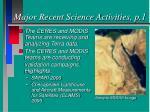 major recent science activities p 1