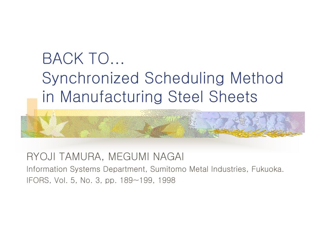 PPT - Scheduling Problem in Steel Industry PowerPoint