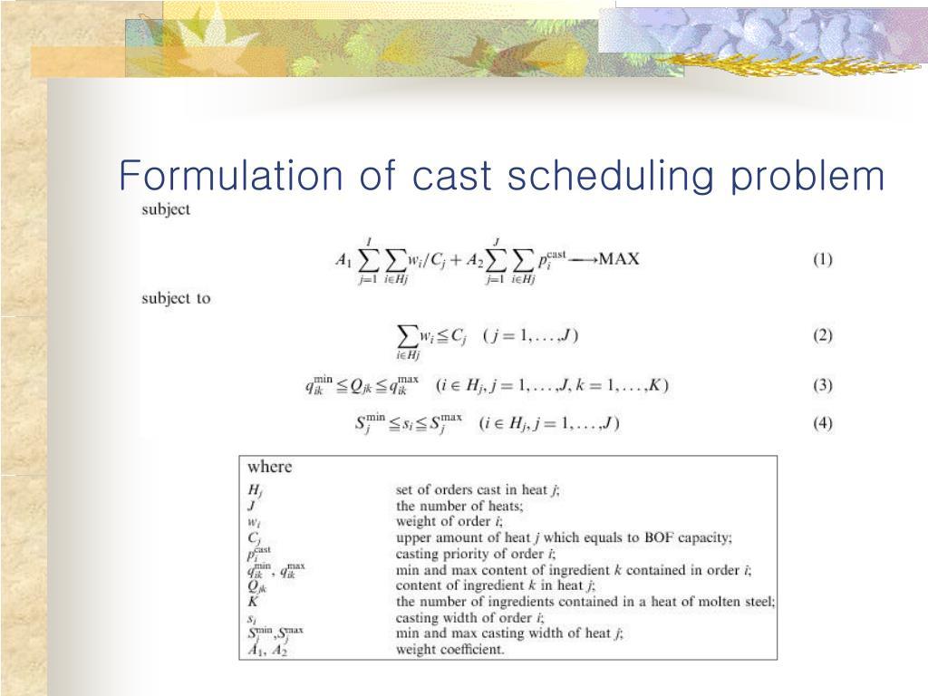 Formulation of cast scheduling problem