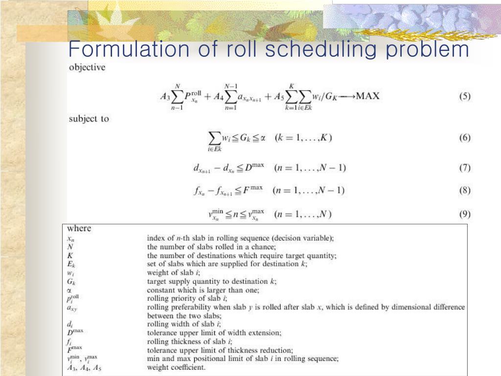 Formulation of roll scheduling problem