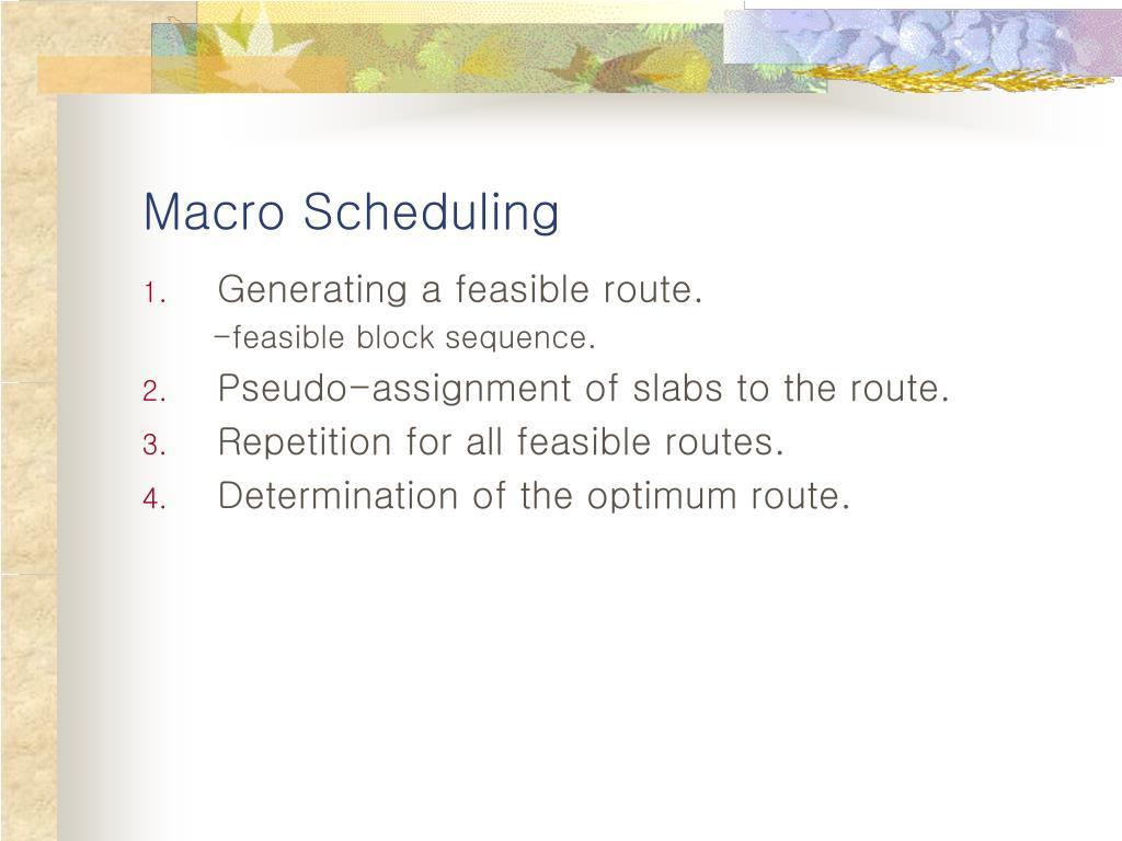 Macro Scheduling