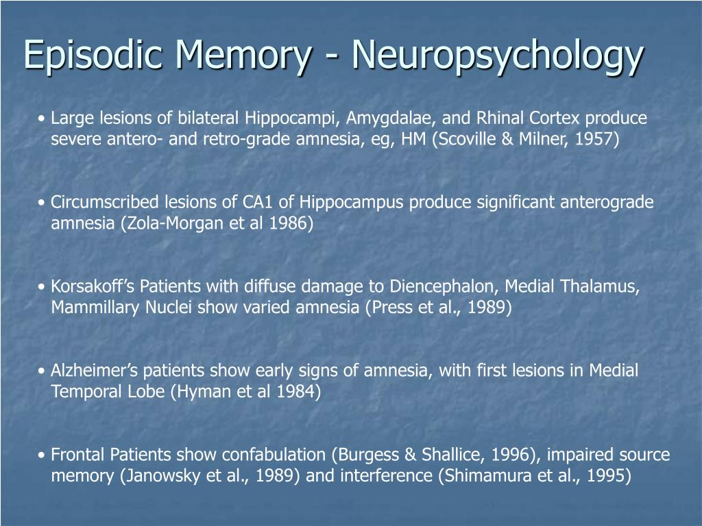 Episodic Memory - Neuropsychology