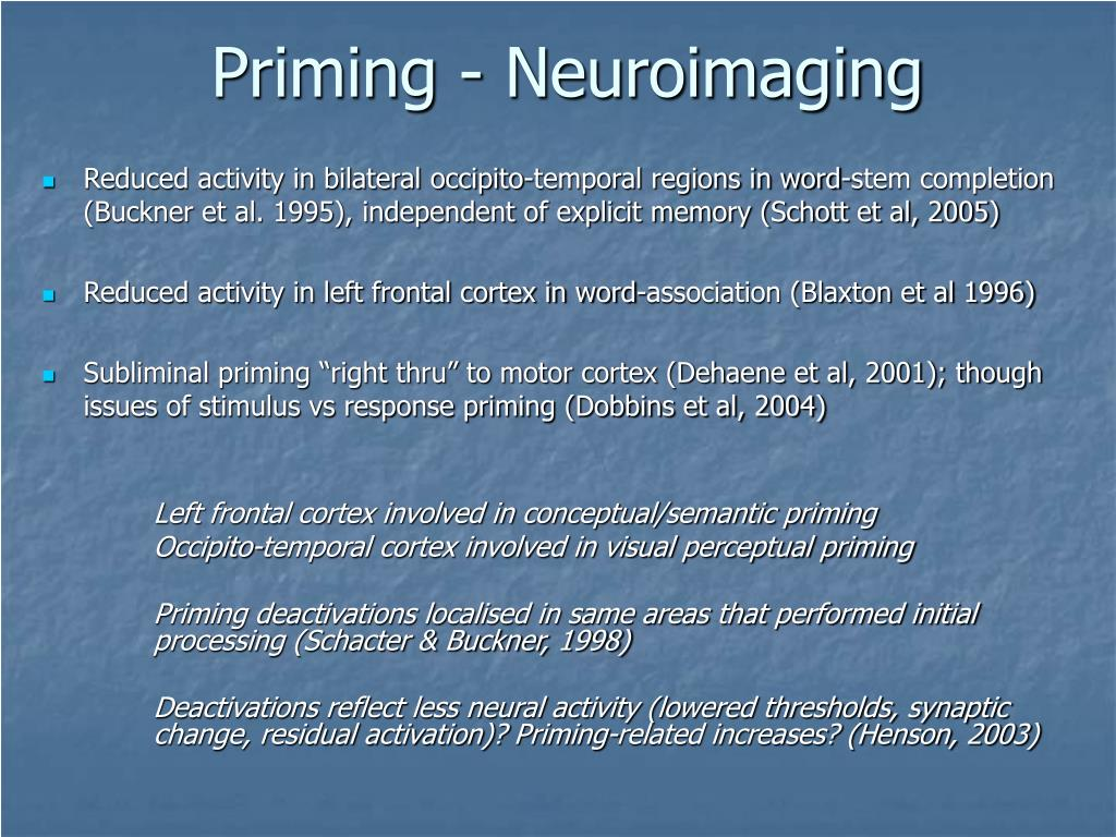 Priming - Neuroimaging