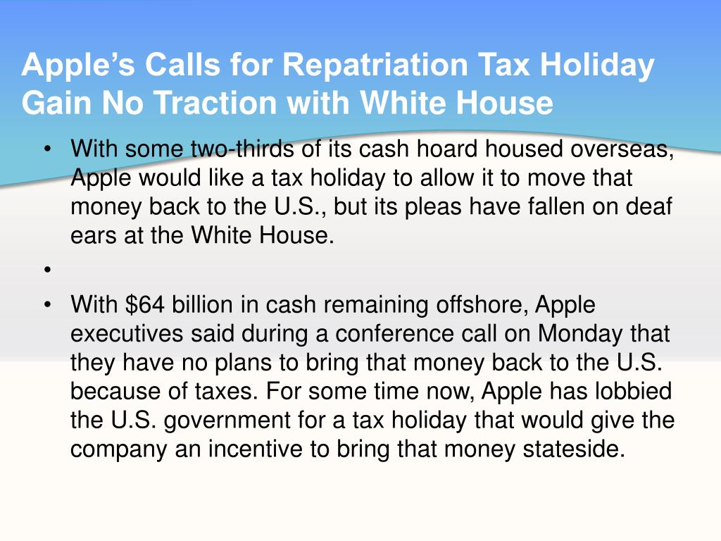 Apple's Calls for Repatriation Tax Holiday Gain No Traction with White House
