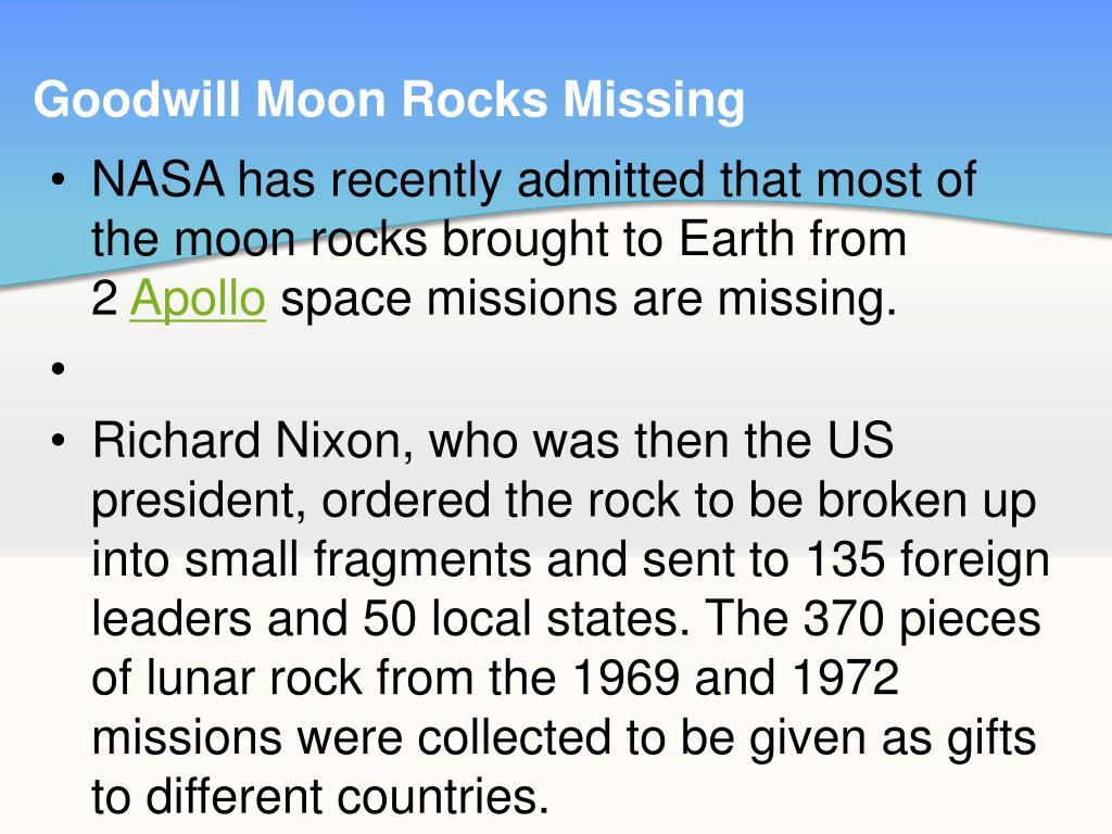 Goodwill Moon Rocks Missing