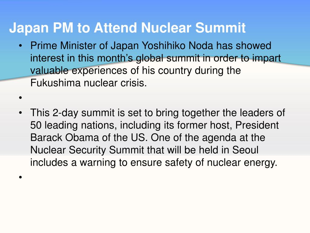 Japan PM to Attend Nuclear Summit