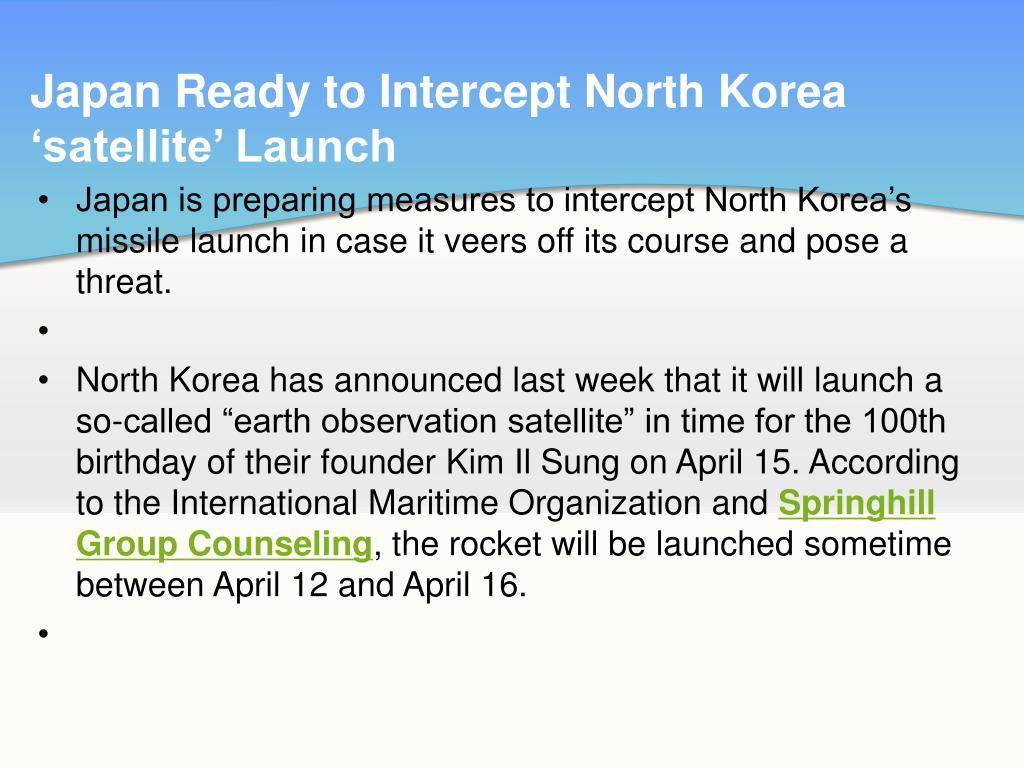 Japan Ready to Intercept North Korea 'satellite' Launch