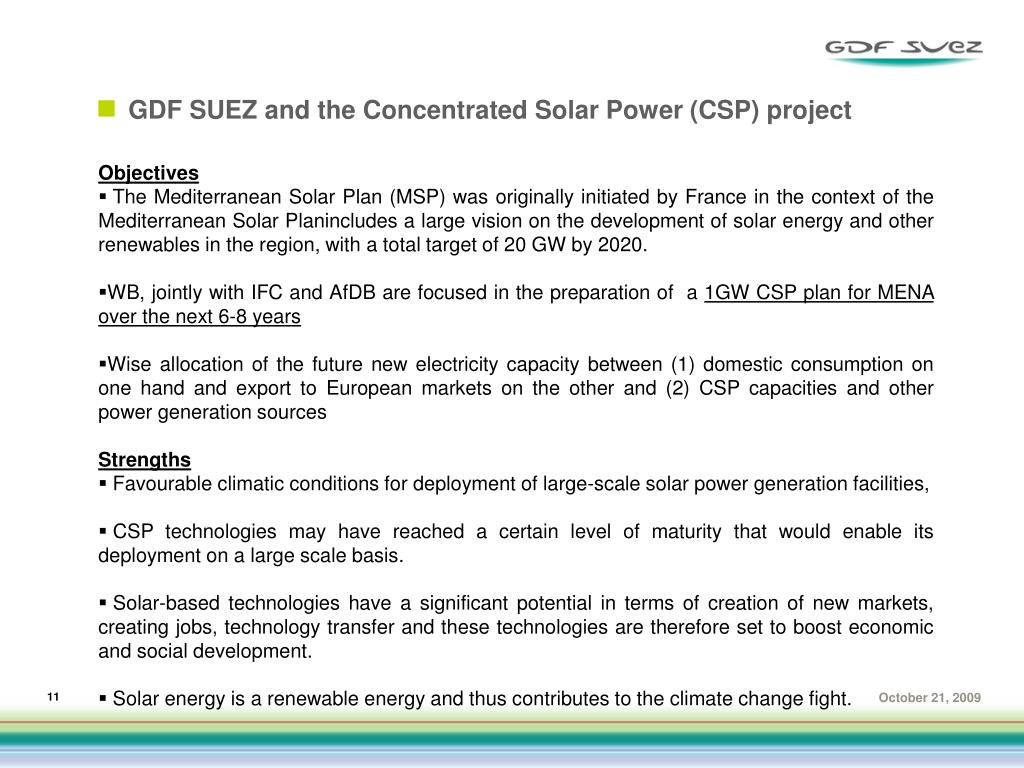 GDF SUEZ and the Concentrated Solar Power (CSP) project