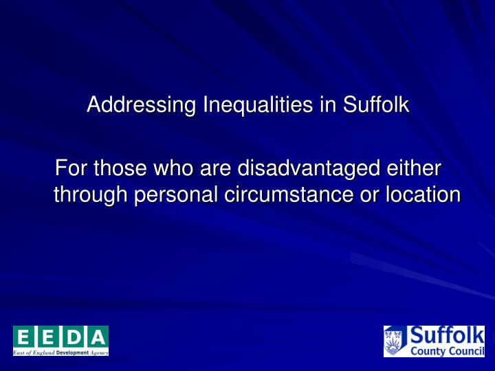 Addressing Inequalities in Suffolk