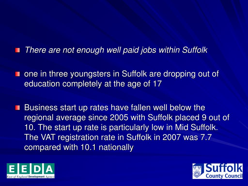 There are not enough well paid jobs within Suffolk
