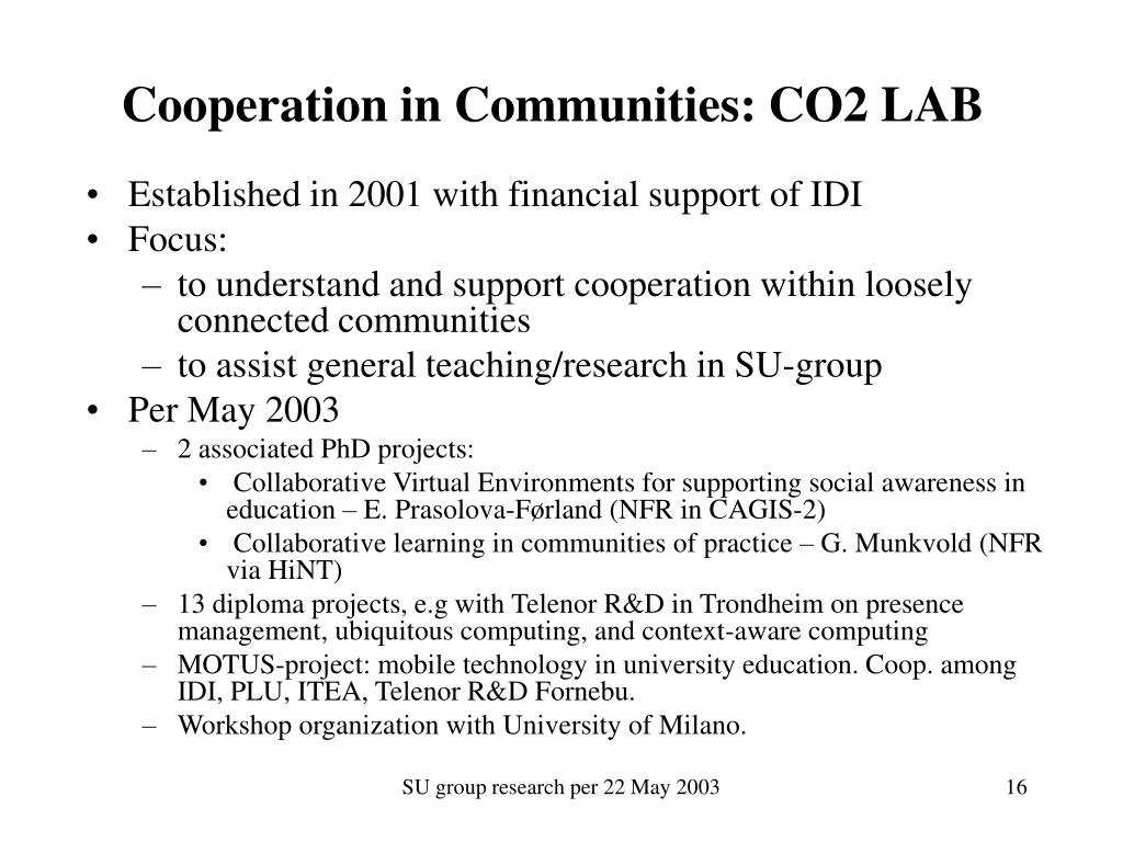 Cooperation in Communities: CO2 LAB