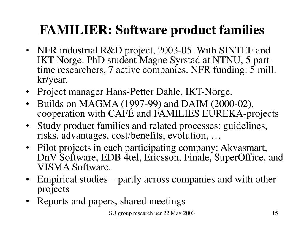 FAMILIER: Software product families