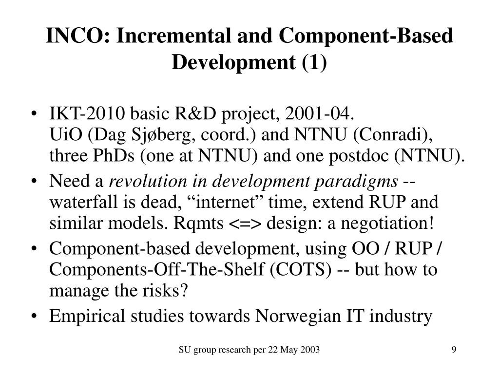 INCO: Incremental and Component-Based Development (1)