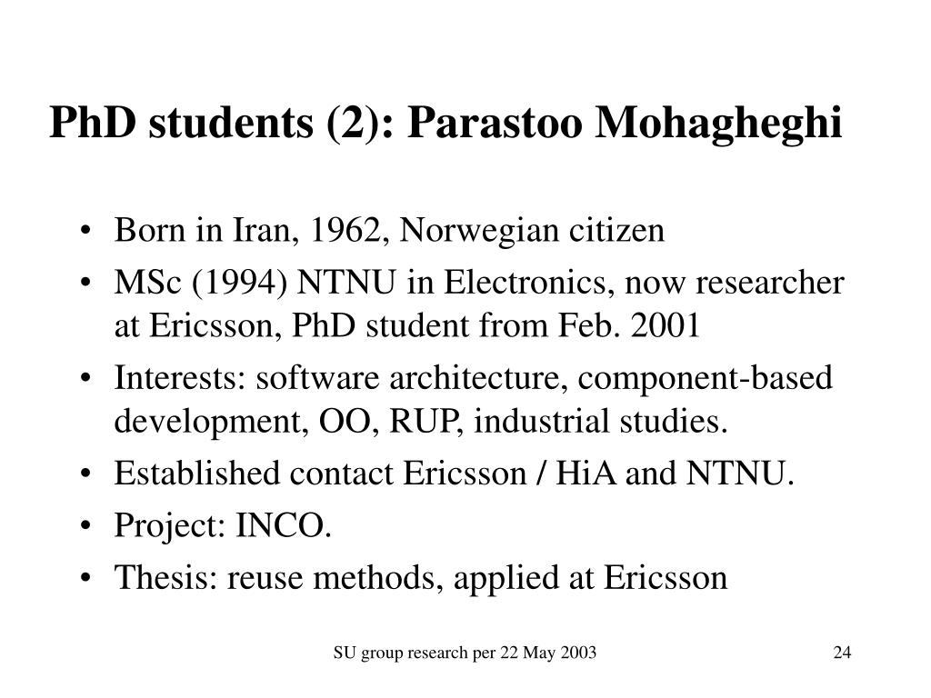 PhD students (2): Parastoo Mohagheghi