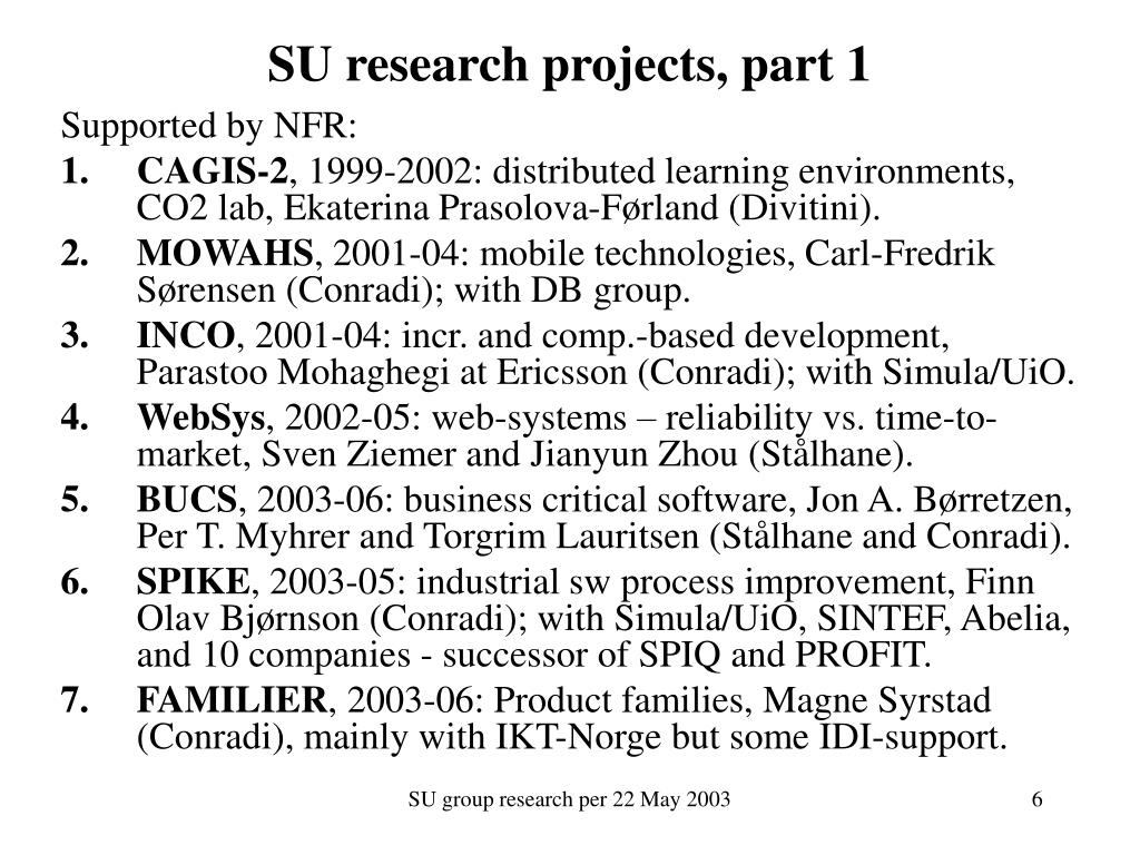 SU research projects, part 1
