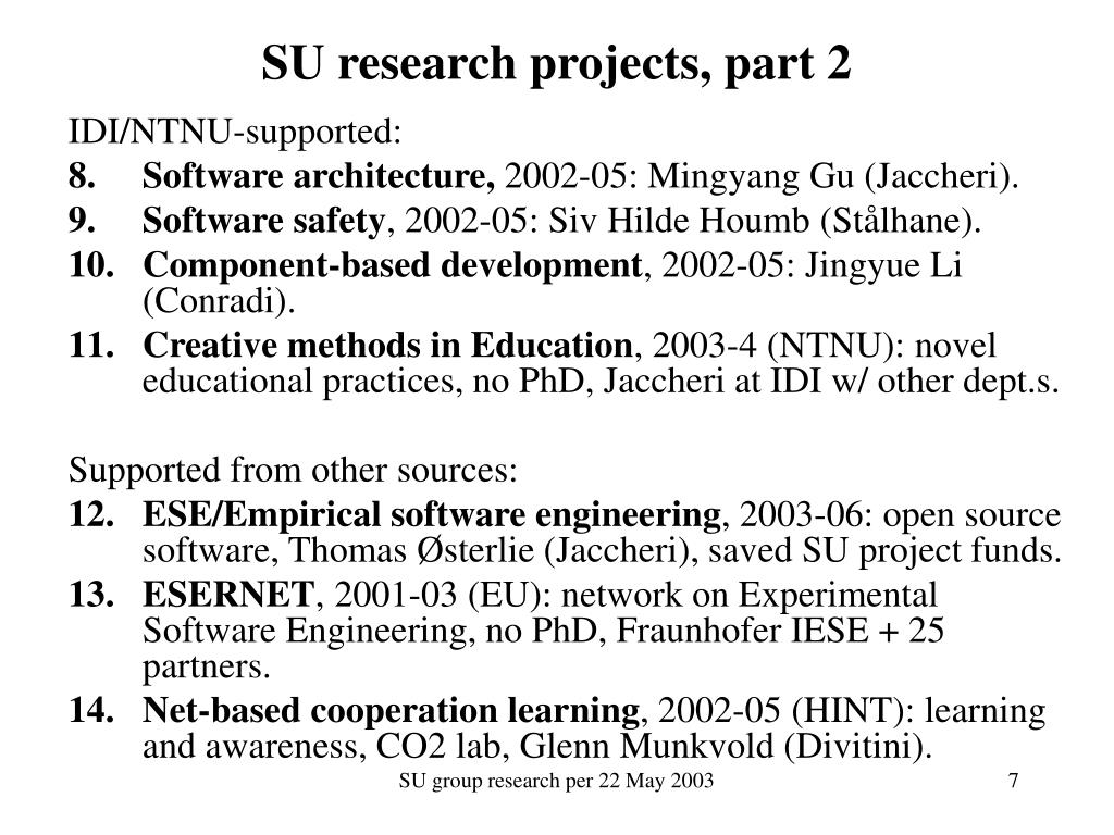 SU research projects, part 2