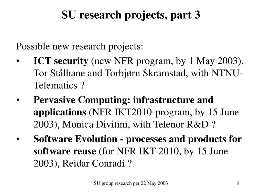SU research projects, part 3