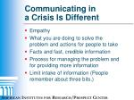 communicating in a crisis is different