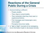 reactions of the general public during a crisis