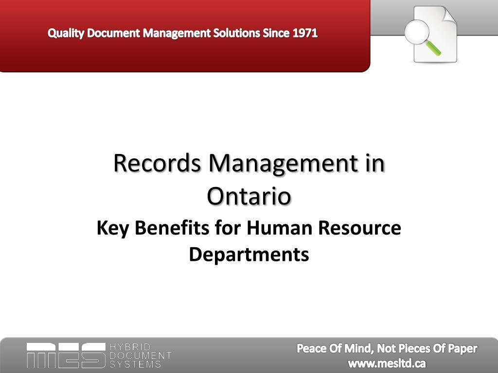 records management in ontario l.