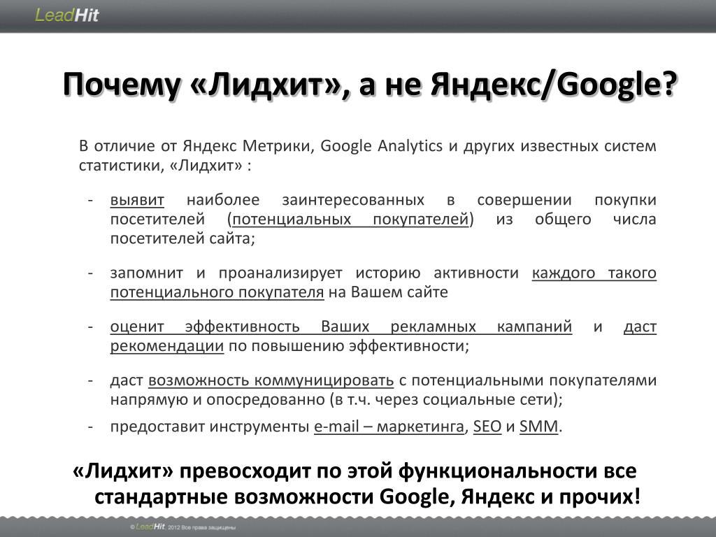 Почему «Лидхит», а не Яндекс/