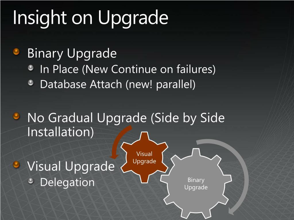 Insight on Upgrade
