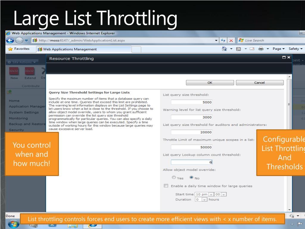 Large List Throttling