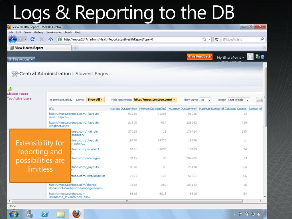 Logs & Reporting to the DB