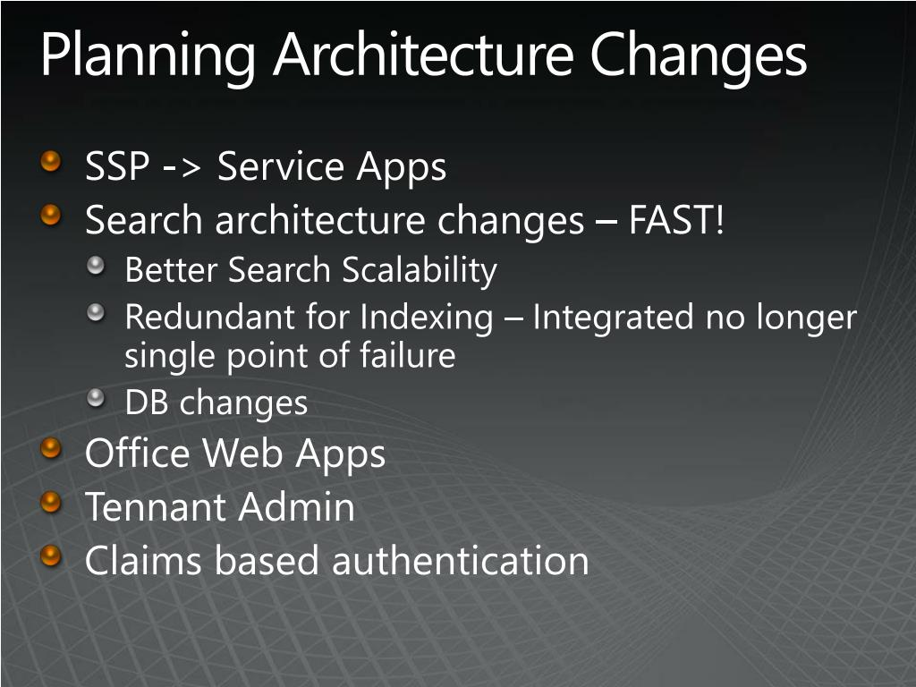 Planning Architecture Changes