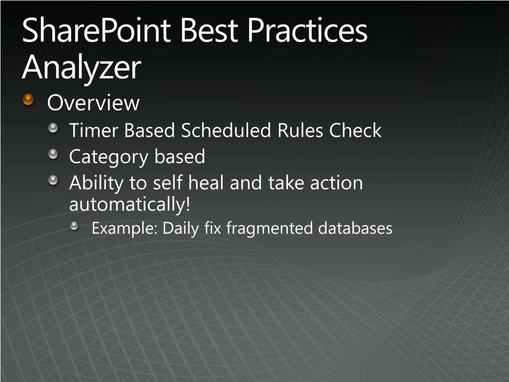 SharePoint Best Practices Analyzer