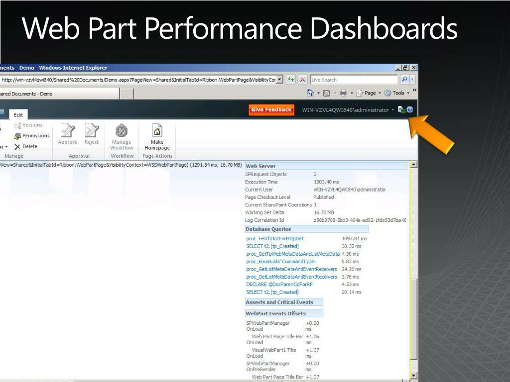 Web Part Performance Dashboards