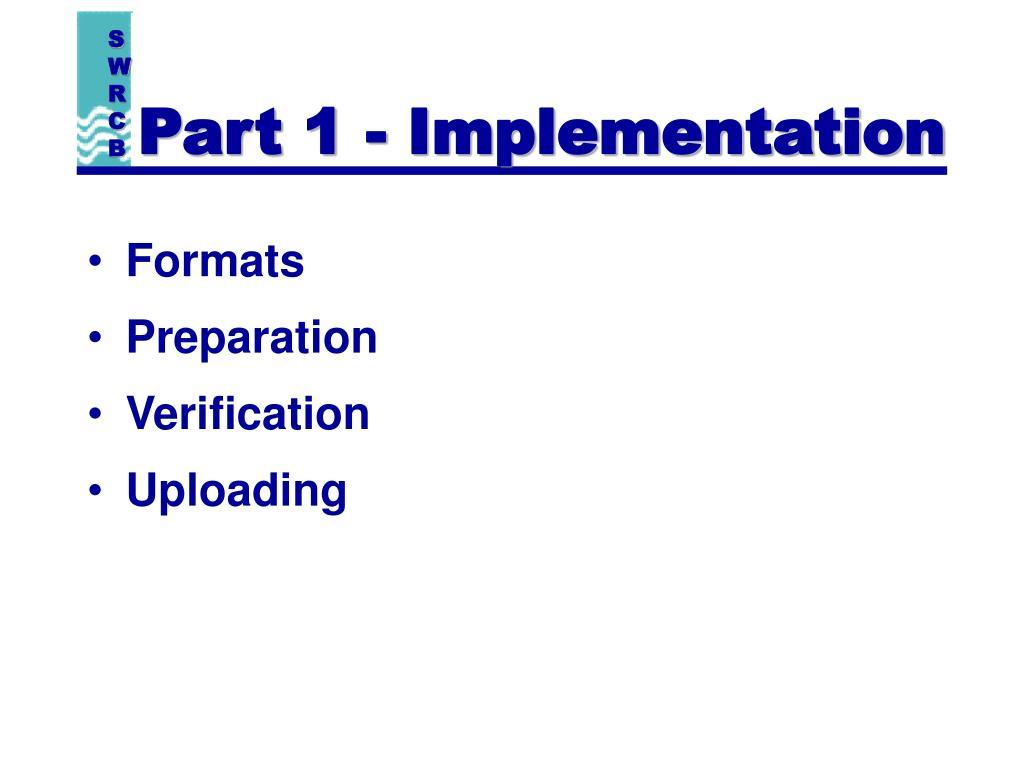 Part 1 - Implementation