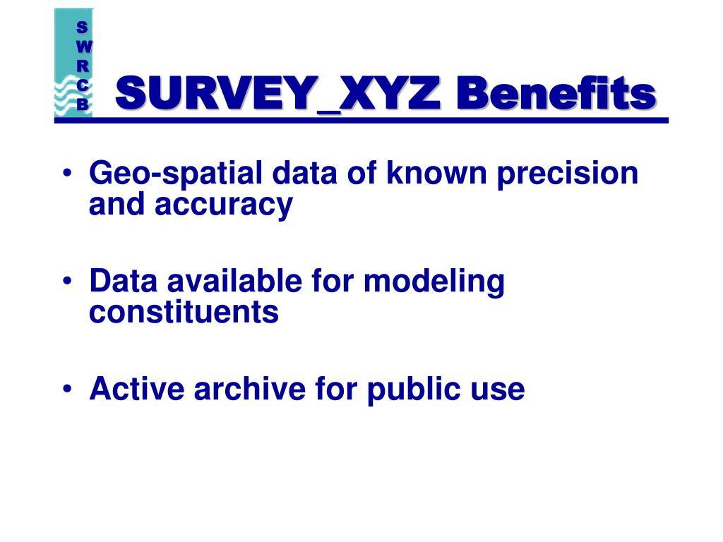 SURVEY_XYZ Benefits