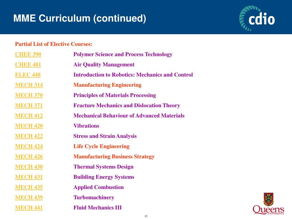 MME Curriculum (continued)