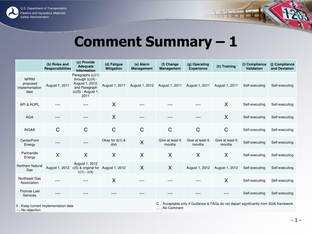 Comment Summary – 1