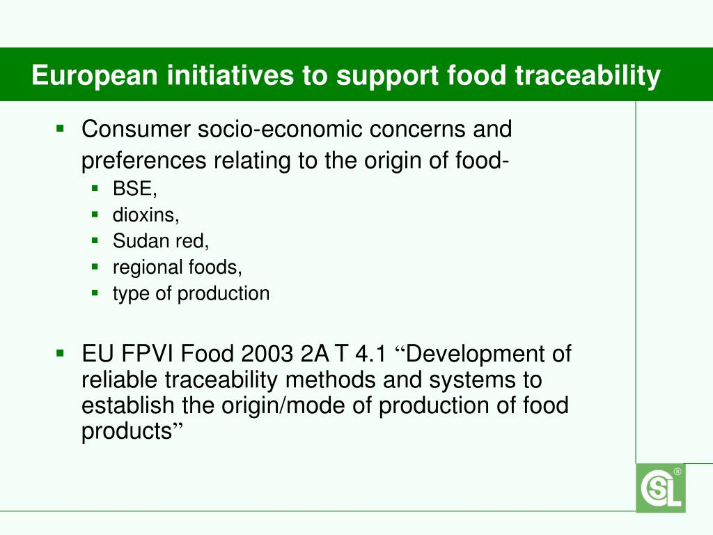 European initiatives to support food traceability