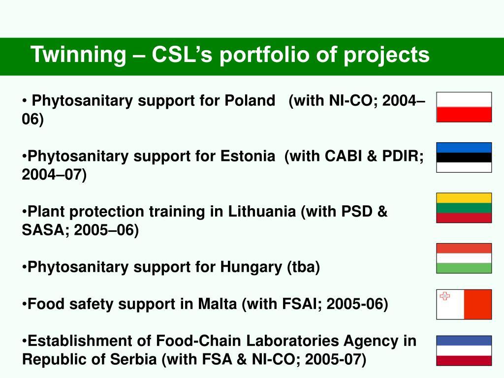 Twinning – CSL's portfolio of projects