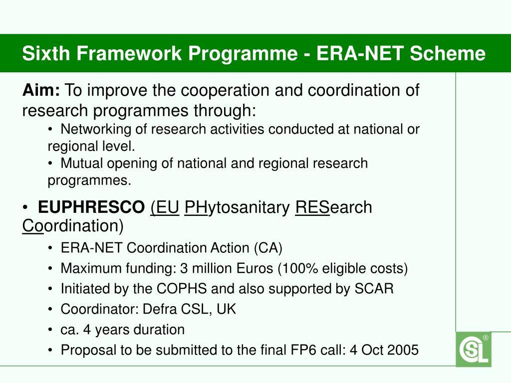 Sixth Framework Programme - ERA-NET Scheme
