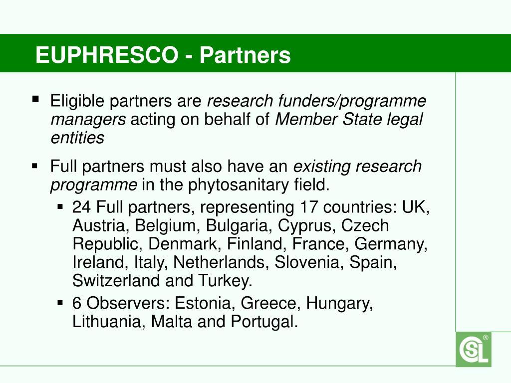 EUPHRESCO - Partners
