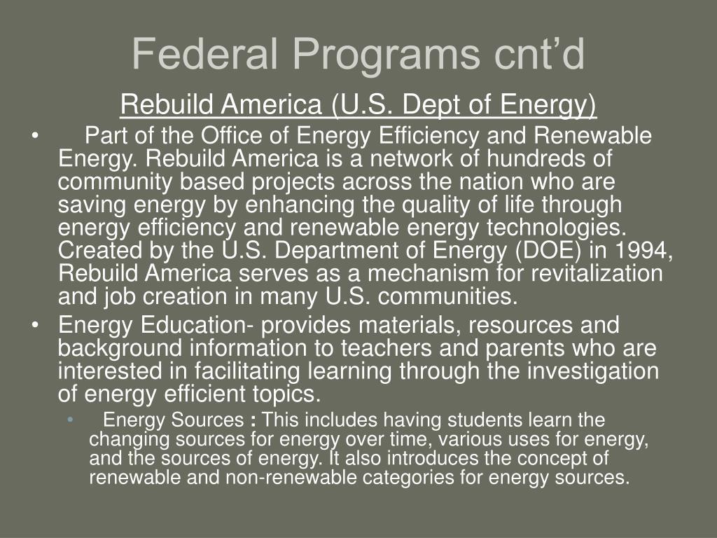 Federal Programs cnt'd