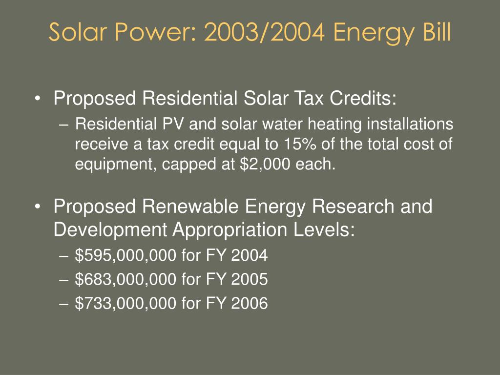 Solar Power: 2003/2004 Energy Bill