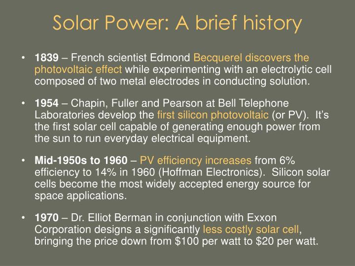Solar power a brief history3